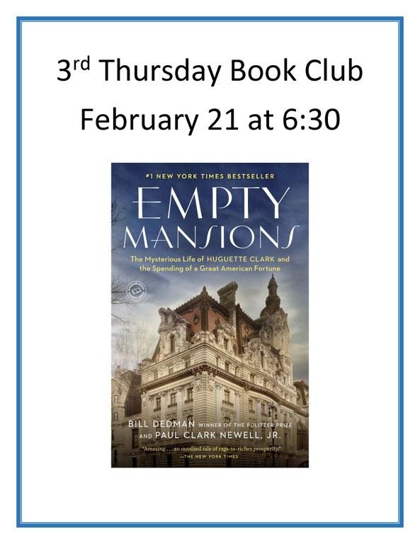 3rd Thursday Book Club january 2019.jpg