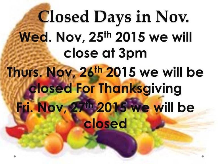 November 2015 Hours